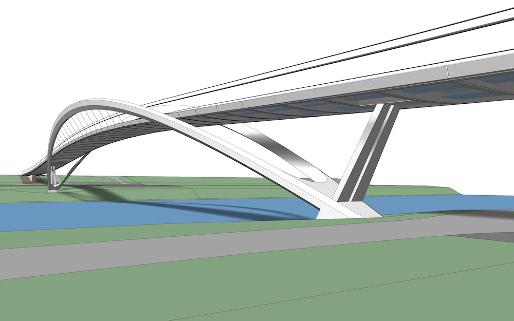3D model of the new pedestrian bridge over Elbe River in Nymburk