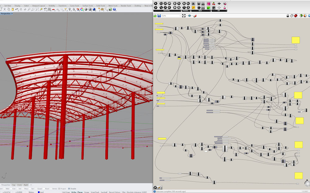 Parametric structure designed in Rhino 3D CAD software with Grasshopper