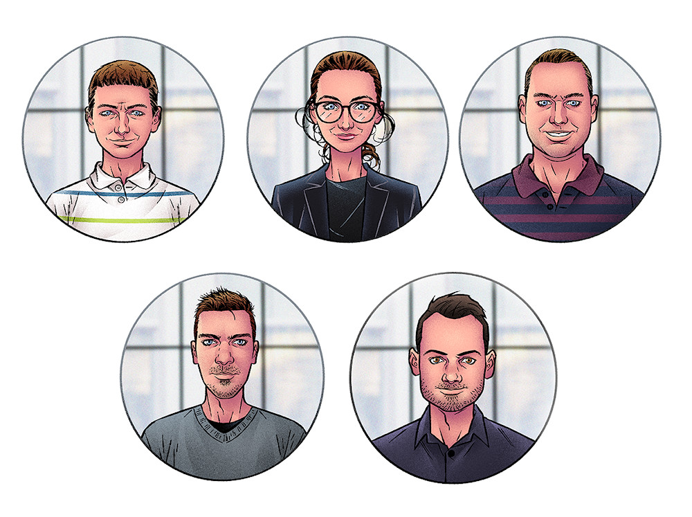 Avatar portraits of a company team