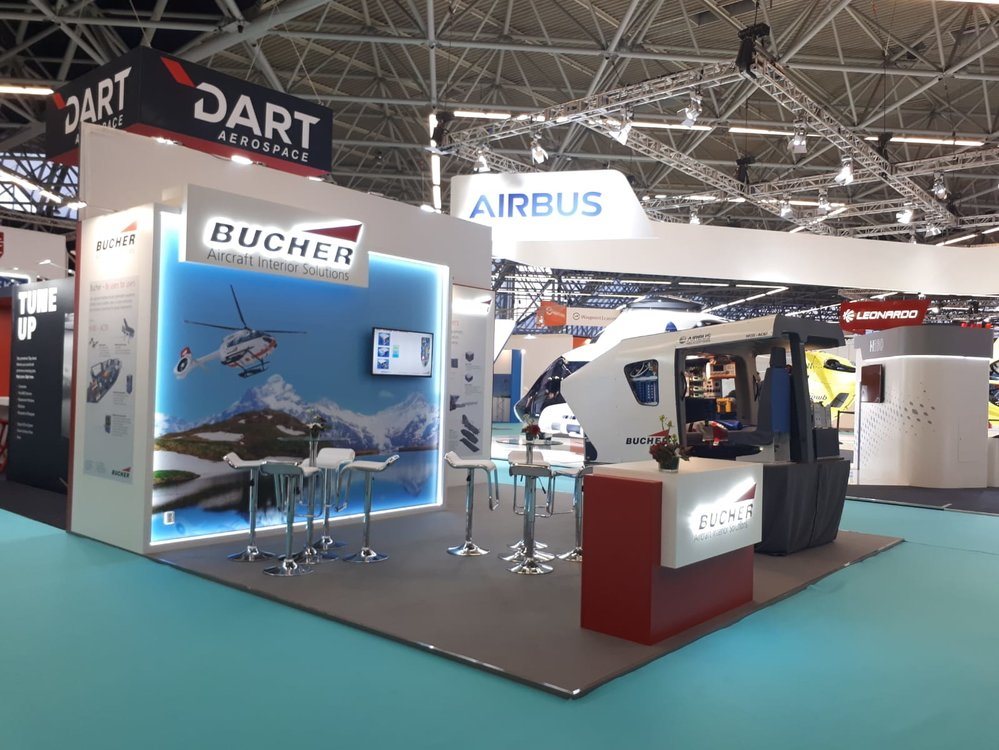 Exhibition stand for Bucher Aircraft Interior Solutions at Helitech (Amsterdam, Netherlands)