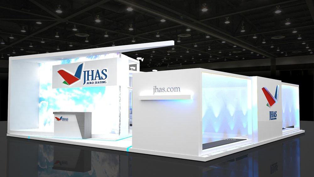 Design of an exhibition stand for JHAS Aero Seating (Hamburg, Germany)
