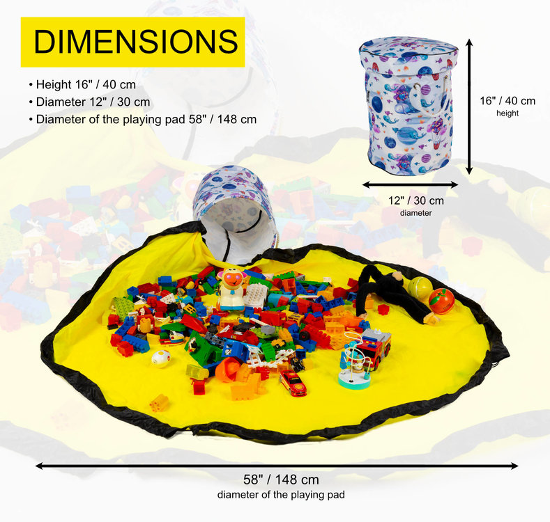 Dimensions of our toy storage basket